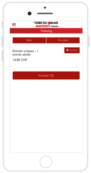 Billetterie FVS Group sur mobile